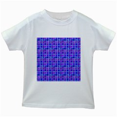 Background Mosaic Purple Blue Kids White T Shirts by Nexatart