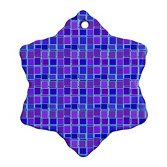 Background Mosaic Purple Blue Snowflake Ornament (two Sides) by Nexatart