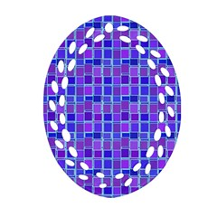 Background Mosaic Purple Blue Oval Filigree Ornament (two Sides) by Nexatart