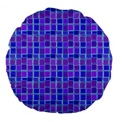Background Mosaic Purple Blue Large 18  Premium Round Cushions