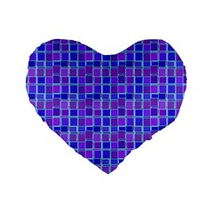 Background Mosaic Purple Blue Standard 16  Premium Flano Heart Shape Cushions by Nexatart