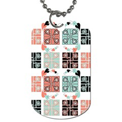 Mint Black Coral Heart Paisley Dog Tag (two Sides) by Nexatart