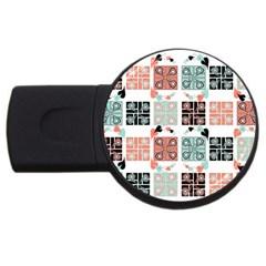 Mint Black Coral Heart Paisley Usb Flash Drive Round (2 Gb) by Nexatart