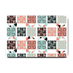 Mint Black Coral Heart Paisley Small Doormat  by Nexatart