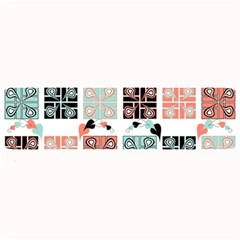 Mint Black Coral Heart Paisley Large Bar Mats by Nexatart