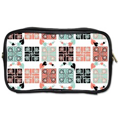 Mint Black Coral Heart Paisley Toiletries Bags 2 Side