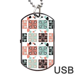 Mint Black Coral Heart Paisley Dog Tag Usb Flash (one Side) by Nexatart
