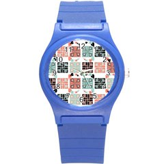 Mint Black Coral Heart Paisley Round Plastic Sport Watch (s) by Nexatart