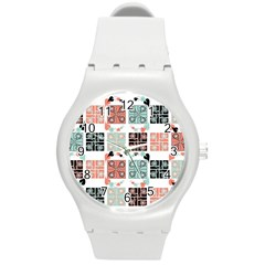 Mint Black Coral Heart Paisley Round Plastic Sport Watch (m) by Nexatart