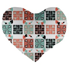 Mint Black Coral Heart Paisley Large 19  Premium Heart Shape Cushions by Nexatart