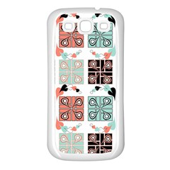 Mint Black Coral Heart Paisley Samsung Galaxy S3 Back Case (white) by Nexatart