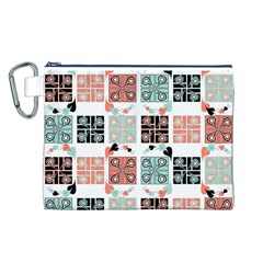 Mint Black Coral Heart Paisley Canvas Cosmetic Bag (l) by Nexatart