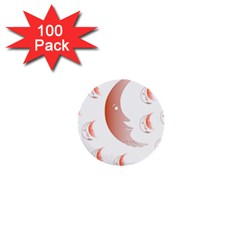 Moon Moonface Pattern Outlines 1  Mini Buttons (100 Pack)