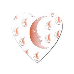 Moon Moonface Pattern Outlines Heart Magnet by Nexatart