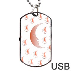 Moon Moonface Pattern Outlines Dog Tag Usb Flash (one Side)