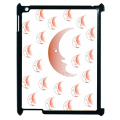 Moon Moonface Pattern Outlines Apple Ipad 2 Case (black) by Nexatart