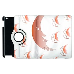 Moon Moonface Pattern Outlines Apple Ipad 2 Flip 360 Case by Nexatart