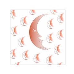 Moon Moonface Pattern Outlines Small Satin Scarf (square) by Nexatart