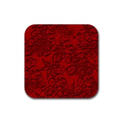 Christmas Background Red Star Rubber Square Coaster (4 Pack)  by Nexatart