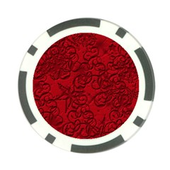 Christmas Background Red Star Poker Chip Card Guard by Nexatart