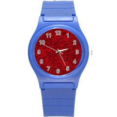 Christmas Background Red Star Round Plastic Sport Watch (s)