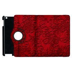 Christmas Background Red Star Apple Ipad 3/4 Flip 360 Case by Nexatart