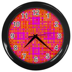 Pink Orange Bright Abstract Wall Clocks (black)