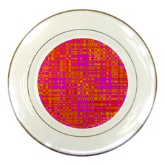 Pink Orange Bright Abstract Porcelain Plates by Nexatart
