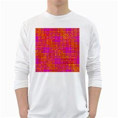 Pink Orange Bright Abstract White Long Sleeve T Shirts