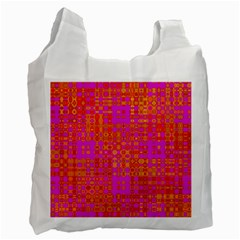 Pink Orange Bright Abstract Recycle Bag (one Side) by Nexatart