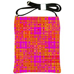 Pink Orange Bright Abstract Shoulder Sling Bags by Nexatart