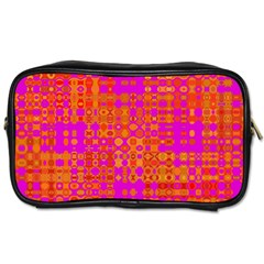 Pink Orange Bright Abstract Toiletries Bags by Nexatart
