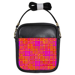 Pink Orange Bright Abstract Girls Sling Bags