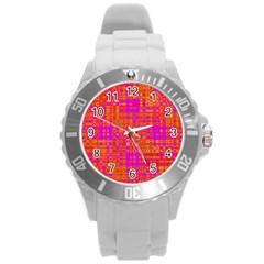 Pink Orange Bright Abstract Round Plastic Sport Watch (l)
