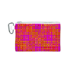 Pink Orange Bright Abstract Canvas Cosmetic Bag (s) by Nexatart