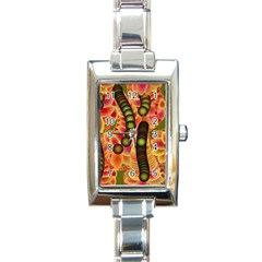 Abstract Background Digital Green Rectangle Italian Charm Watch