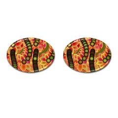 Abstract Background Digital Green Cufflinks (oval) by Nexatart