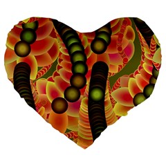 Abstract Background Digital Green Large 19  Premium Heart Shape Cushions by Nexatart