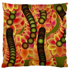 Abstract Background Digital Green Large Flano Cushion Case (one Side)