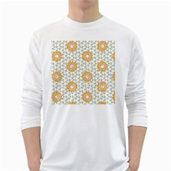 Stamping Pattern Fashion Background White Long Sleeve T Shirts