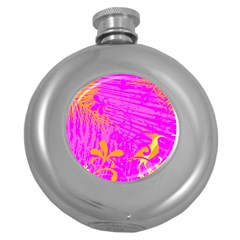 Spring Tropical Floral Palm Bird Round Hip Flask (5 Oz)