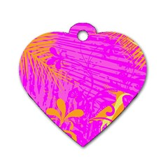 Spring Tropical Floral Palm Bird Dog Tag Heart (two Sides) by Nexatart