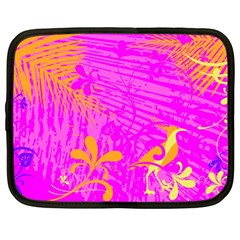 Spring Tropical Floral Palm Bird Netbook Case (large) by Nexatart