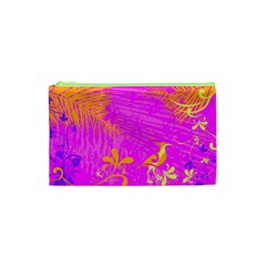 Spring Tropical Floral Palm Bird Cosmetic Bag (xs)