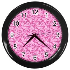 Shocking Pink Camouflage Pattern Wall Clocks (black)