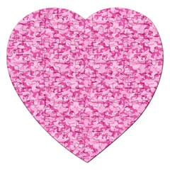 Shocking Pink Camouflage Pattern Jigsaw Puzzle (heart)
