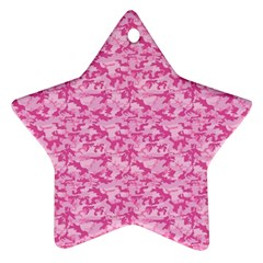 Shocking Pink Camouflage Pattern Star Ornament (two Sides)