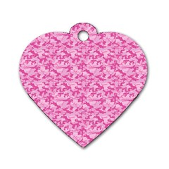 Shocking Pink Camouflage Pattern Dog Tag Heart (two Sides) by tarastyle