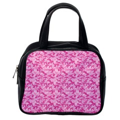 Shocking Pink Camouflage Pattern Classic Handbags (one Side)