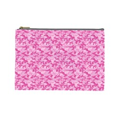 Shocking Pink Camouflage Pattern Cosmetic Bag (large)